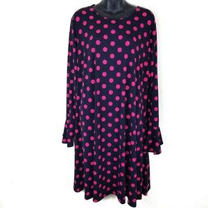 NWT Navy and Hot Pink Dress, Bell sleeve, Pockets